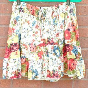 Speechless Tiered Floral Boho Flirty Skirt M